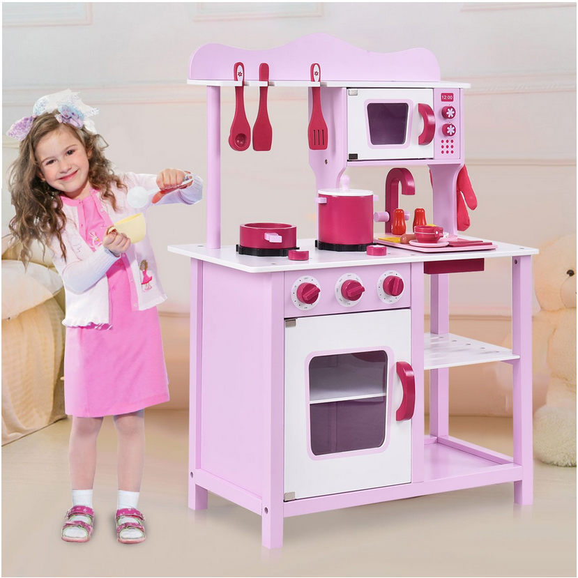 Details about Wooden Little Chef Pretend Play Kitchen Cooking Toy Set with  Cookware Accessorie
