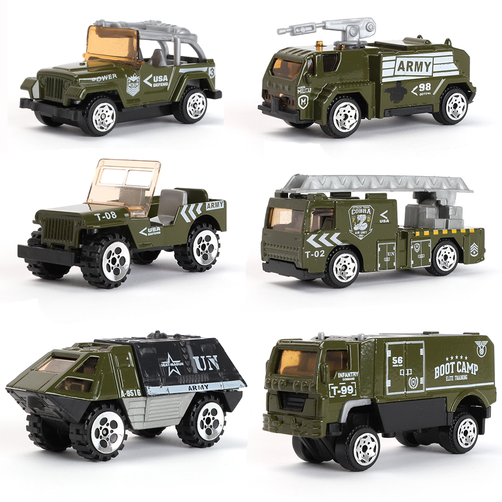 Details about 6 Types Diecast Military Vehicle Playset Cars Model Alloy  Army for Kids Fun Gift